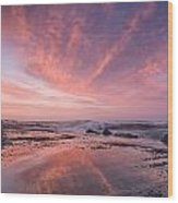 Reflections On North Jetty Dusk Wood Print