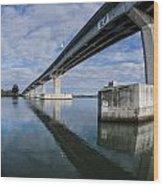 Reflections On Samoa Bridge Wood Print