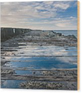 Reflections On The South Spit Wood Print