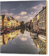 Reflections Over Ghent Wood Print
