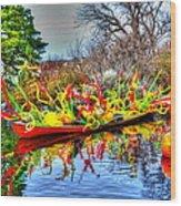 Reflective Boat Wood Print