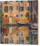 Reflective Moment In Venice Wood Print