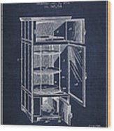 Refrigerator Patent From 1901 - Navy Blue Wood Print