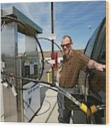 Refuelling A Natural Gas Vehicle Wood Print