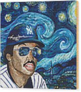 Reggie Jackson Starry Night Wood Print