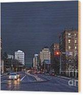 Regina Street At Night Wood Print