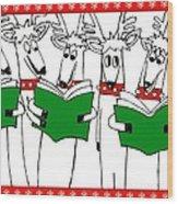 Reindeer Choir Wood Print