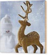 Reindeer In Snow Wood Print