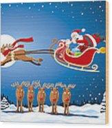 Reindeer Santa Sleigh Christmas Stunt Show Wood Print by Frank Ramspott