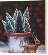 Reindeer With Christmas Trees Wood Print