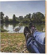Relax At River Wood Print