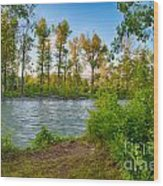 Relax By The Methow Rivers Edge Wood Print