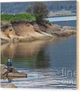 Relaxed Fisherman Wood Print by Robert Bales