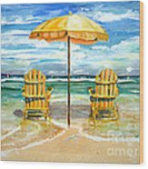 Relaxing At The Beach Wood Print by Chris Dreher
