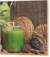 Relaxing Spa Candle Wood Print