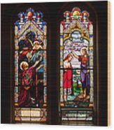 Religious Stained Windows Wood Print