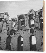 Remains Of Tiered Arches Of The Old Roman Colloseum At El Jem Tunisia Wood Print