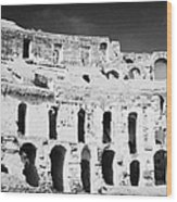 Remains Of Upper Tiers Looking Up From The Arena Floor Of The Old Roman Colloseum At El Jem Tunisia Wood Print
