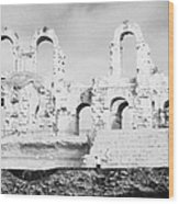 Remains Of Upper Tiers Of The Old Roman Colloseum At El Jem Tunisia Wood Print