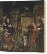 Rembrandt In His Studio Wood Print