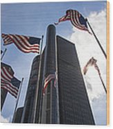 American Flags And Renaissance Center Wood Print