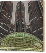 Renaissance Center Detroit Michigan Wood Print by Nicholas  Grunas