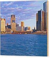 Renaissance Center, Detroit, Sunrise Wood Print