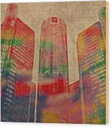Renaissance Center Iconic Buildings Of Detroit Watercolor On Worn Canvas Series Number 2 Wood Print