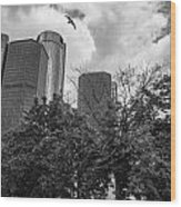 Renaissance Center In Detroit Wood Print