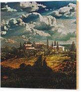 Renaissance Landscape With Power Lines Wood Print