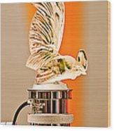 Rene Lalique -coq Nain - 1930 Bentley Speed Six H.j Mulliner Saloon Hood Ornament Wood Print