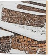 Renewable Heat Source Firewood Stacked In Winter Wood Print
