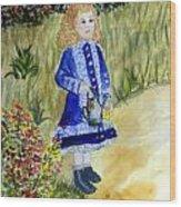 Renoir Girl With Watering Can In Watercolor Wood Print