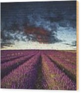 Renoir Style Digital Painting Vibrant Summer Sunset Over Lavender Field Landscape Wood Print