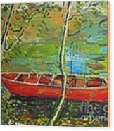 Renoirs Canoe Wood Print by Charlie Spear
