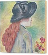 Renoirs' Painting Of Girl Holding A Bouquet In Pastels Wood Print