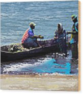 Repairing The Net At Lake Victoria Wood Print