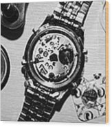 Replacing The Battery In A Metal Band Wrist Watch Wood Print