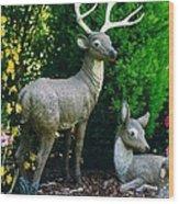 Replica Of Deer Family Wood Print