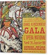 Reproduction Of A Poster Advertising The Fetes De Paris Wood Print