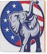 Republican Elephant Mascot Usa Flag Wood Print