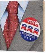 Republican Vote Badge Wood Print