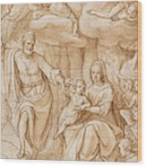 Rest On The Flight Into Egypt Wood Print by Federico Zuccaro