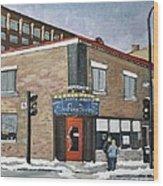 Restaurant A La Fine Pointe Wood Print by Reb Frost
