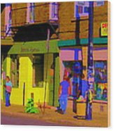 Restaurant El Pintxo Rue Roy Plateau Montreal Basque Food Spanish Cafe City Scene Art Carole Spandau Wood Print