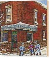 Restaurant Epicerie Jean Guy Pointe St. Charles Montreal Art Verdun Winter Scenes Hockey Paintings   Wood Print