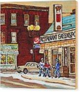 Restaurant Greenspot And Coin Vert Boutique Fleuriste Montreal Winter Street Hockey Scenes Wood Print