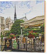 Restaurant On Seine Wood Print by Elena Elisseeva
