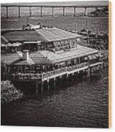 Restaurant On The Bay Wood Print