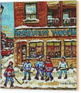 Restaurant Woodland Pizza Rue Wellington Verdun Original Hockey Art Montreal Paintings Commissions   Wood Print